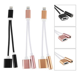 Wholesale Iphone Cable Charger Headphone - 2 in 1 Charger Audio Earphone Adapter for Apple Iphone 7 7plus, Aluminum Lighting to 3.5mm Headphone Cable Cord Aux IOS10.3 Not Supported