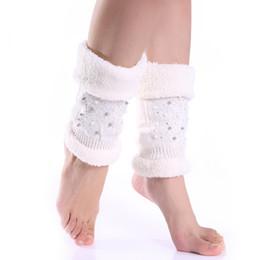 Wholesale fleece cuff - Wholesale- Pearl Rhinestone Knit Leg Warmers For Women Winter Thick Womens Boot Socks Warm Fleece Boot Cuffs Ladies Legwarmers Boot Topper