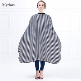 Wholesale Hair Cut Gown - New Arrival Elegant Lady Hairdressing Cape Black And White Strip Hair Cutting Cape Gown Adjustable Neck Button Salon Cape