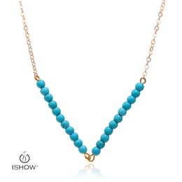 Wholesale Turquoise Blue Bead Necklace - 10Pcs Lot Summer Style Jewelry Fashion Women's Multi Layered Necklace Blue turquoise beads Pendant Necklace Gold