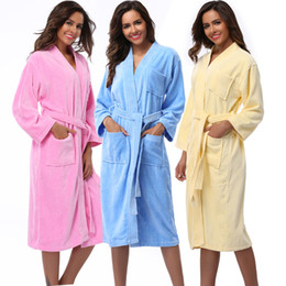 Wholesale- Women Robes 2016 Winter Warm Cotton Sleepwear Kimono Robe Woman  Hotel Spa Long Sleeve Soft Plush Bathrobe Solid nightgown Pijama d80fa5e65