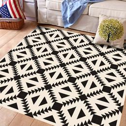 Wholesale Wall Decal Geometric - 3D Creative High-end Black White Floor Sticker Geometric Simulated European Floor Tile Sticker Home Decoration DIY Mural