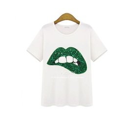 Wholesale T Shirt Donna Fashion - Wholesale-Donna New Brand Women T-Shirt Short Sleeve Fashion Glitter Applique Mouth Printed Female White Cotton Basic Tees Tops TX266-S
