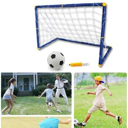 Wholesale Grasp Fold - Portable Folding Children Football Goal Door Football Soccer Door Gate Fun Sport Out Door Deluxe Football Goals with 1 Ball