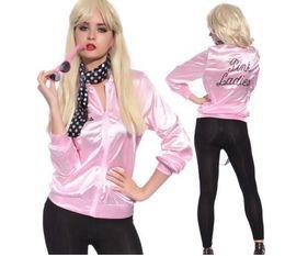 Wholesale Halloween Costume Cheerleader - 2017 New Halloween Pink Lady Retro Jacket Womens Fancy Dress Grease Costume Cheerleader Women Pink Outerwear & Coats