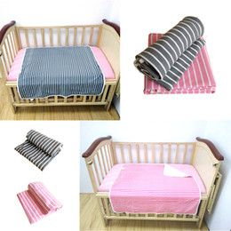 Wholesale Color Conditioners - Baby Knit Blanket Infant Air Conditioner Blanket Bilayer Cotton Quilt Solid Color Striped Bed Mat Newborn Swaddling Mattress Free DHL