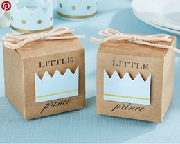 Wholesale Crown Baby Shower Favors - Wholesale- Little Prince Princess Brown Kraft Paper Baby Shower Birthday Party Favors Gift Box Candy Boxes With Crown and Twine 12pcs