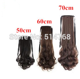 Wholesale Ponytail Extensions Ribbon - Wholesale- Free shipping ribbon ponytail synthetic hairpieces hair extension 1pc 50cm 60cm 70cm 110grams