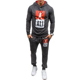 Wholesale men s slim suits sale - Men Hoodies Hot Sale Spring Autumn Mens Tracksuit Set 2017 Fashion Casual Slim Sweater Suit Men Jacket+Pant size S-2XL Free shipping