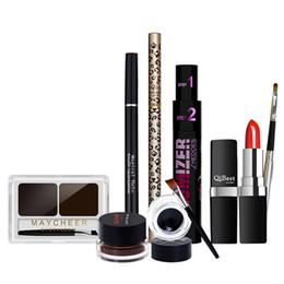Wholesale Powder Eyeliner Pencil - New Profession Makeup Sets 7 pieces set eyeliner gel eyeliner eyebrow liquid pencil mascara lipstick eyebrow powder