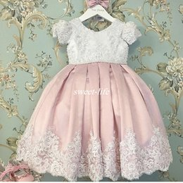 Wholesale Mini Wedding Dresses Bow - Cute White and Blush Baby Child Communion Party Dress O-Neck Lace Beaded Pearls with Cap Sleeve Pleated Bow Wedding Flower Girl Dresses 2017