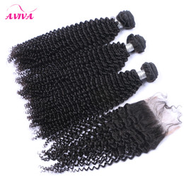 Wholesale Russian Curly Virgin Hair - Russian Kinky Curly Virgin Hair Weaves With Closure 4 Pcs Lot Unprocessed Russian Curly Virgin Hair Bundles With Top Lace Closures Soft Full