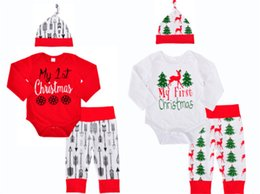 Wholesale Girl Santa Outfit - 2017 Christmas Baby Rompers Clothing Sets Boys Girls Toddler Romper Pants Caps 3Pcs Santa Autumn Infant Onesies Boutique Clothes Outfits