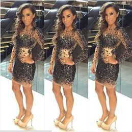 Wholesale Sparkly Mini Prom Dress - Sparkly Shiny Black Crystals Beaded Long Sleeves Cocktail Dresses Short 2017 Charming Luxury Sequins Mini Party Formal Prom Gowns