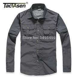 removable collar shirt Promo Codes - Wholesale- travel men Brand Shirt Men Removable Quick Dry Breathable Tactical Shirt Summer Camp Long Sleeve Shirt SMMD-002