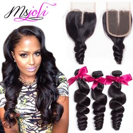 Wholesale 4x4 Lace Frontal - Mongolian virgin human hair weave unprocessed loose wave natural color 4x4 lace closure frontal with three bundles from Ms Joli