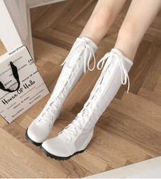 Wholesale Super Tall Heels - New Arrival Hot Sale Specials Super Fashion Influx Martin Roman Lace Up Summer Hollow Mesh Tall Canister Knight Heels Cool Boots EU34-43