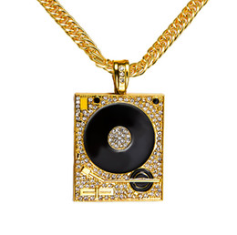 Wholesale Dj Plates - Mens Diamonded Tide Personalized Design DJ Loudspeaker Necklace 18k Gold Plated Fashion Hip Hop Style Jewelry 90CM Long Chains Punk Rock Mi