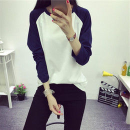 Wholesale Bell Sleeve Xs - Wholesale- Autumn and Winter Women's Casual Raglan Patchwork Solid Color Pullover T Shirt Preppy Style Long Sleeve Bottoming Top Tees M-XXL