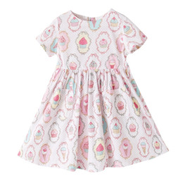 Wholesale Baby Holiday Dresses - Everweekend Sweet Girls Ice Cream Dress Summer Ruffles Cotton Cute Baby Dress Western Children Holiday Party Dress
