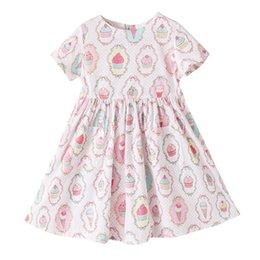 Wholesale Ice Cream Tutu - Everweekend Sweet Girls Ice Cream Dress Summer Ruffles Cotton Cute Baby Dress Western Children Holiday Party Dress