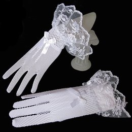 Wholesale Hot Fishnet Dresses - Black Hot Sale Lace Fishnet Wedding Bridal Gloves Lace Gloves Fingered Bows Gloves for Party Wedding Dress