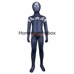Wholesale Full Captain America Costume - Brand New Dark Blue Lycra Spandex Full Body Zentai Suit Superhero Children Captain America Bodysuit Costume For Halloween