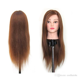 """Wholesale hairdressing training head practice - Synthetic Hair 22"""" Salon Hairdressing Mannequin Practice Training Head osmetology Mannequin Head With hair & Clamp Holder"""