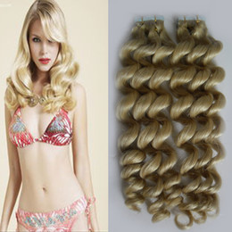 Wholesale Dark Brown Tape - Blonde Brazilian hair tape extensions virgin Loose wave tape in hair extensions remy 40 pieces 100g skin weft seamless hair extensions