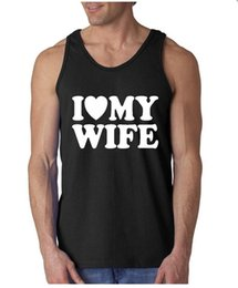 Wholesale Couples Tank Tops - Wholesale- I Heart My Wife I Love My Husband Coupls Mens Womens Sleeveless Tank Tops Adult Size S-2XL Couples Tanks