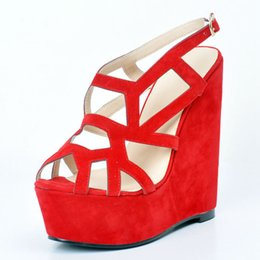 Wholesale Ladies Suede Platform Wedge Shoes - Hot Pink Faux Suede Women Sandals Wedges Heel Platform Open Toe Cut-Out Summer Shoes Ladies Casual Style Size 12 High Heel