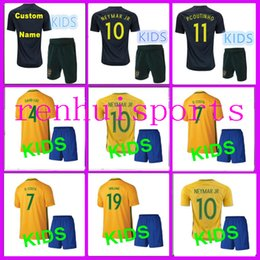 Wholesale More Free - Brazil Kids Jerseys 2017 2018 child teens Shirt DAVID LUIZ D. COSTA NEYMAR JR OSCAR WILLIAN 17 18 10 or more free to send DHL