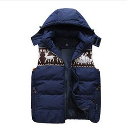 Wholesale Detachable Cap Hat - Wholesale- Casual Printed Patchwork Hood Vest Thick Detachable Cap Leisure Vest Men