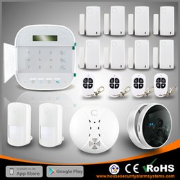 Wholesale Door Alarm Ip - Perfect WIFI+GSM Dual Net Wireless Home Security Systems House Burglar Alarm With IP Camera By DHL Free