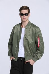Wholesale korean jacket for men - 2017 New Ma-1 flight bomber jacket for men military olive green army Windbreak air force flying cheap plain pilot korean jacket