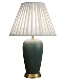 Canada Simple américaine rétro lampe de table en céramique vert salon plein de cuivre rural étude créative chambre décorative lampe de chevet LLFA supplier green bedside lamps Offre