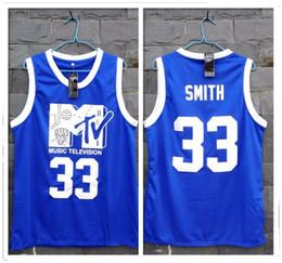 89143e17b0f Costurado Will Smith 33 Jersey Prima Anual Rock N 'Jock Jam B-Ball 1991  Cucito Tutto cucito-Blu Basquete Camisas