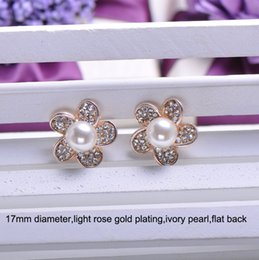 Wholesale Metal Embellishment Free Shipping - (L0338) free shipping wholesale 10 pcs lot,metal rhinestone embellishment,17mm,light rose gold plating,ivory pearl,flat back