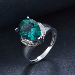 Wholesale Genuine Gemstone Sterling Silver Rings - Hutang 6.21ct Genuine Green Fluorite Gemstone Solid 925 Sterling Silver Solitaire Ring Fine Jewelry wholesale