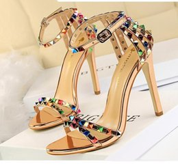 Wholesale White Prom Shoes Beading - Fashion Women Sandals Multi Colors Rivets Studded Ankle Strap High Heels Prom Wedding Shoes Size 34 to 39