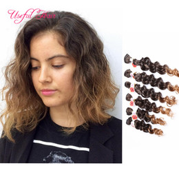 Pelo de color burdeos online-Freetress cabello onda profunda EXTENSIONES DE COSTURAS EN EL CABELLO trenzas del cabello ondulado Jerry rizado, trenzado sintético, paquetes de tejido color burdeos PARA MUJERES