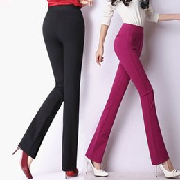 Wholesale High Waist Bootcut Legging - High quality women classical business suit high waist pants wide leg stretch office ladies work pants plus size pantalones mujer
