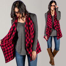 Wholesale Thin Plaid - Wholesale- New 2016 Women Autumn Plaid Jackets Casual Women Lapel Sleeveless Thin Coat Checkered Sleeveless Outwear Feminino Tops