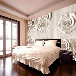 Wholesale Fashion Tv Europe - Wholesale-Custom-made photo wallpaper 3D stereoscopic rose white minimalist fashion living room bedroom TV Modern Europe 3d wallpaper