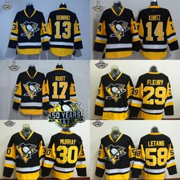 Wholesale Cheap Penguin Jerseys - 2017 Stanley Cup Champions 50th Pittsburgh Penguins 13 Nick Bonino 14 Chris Kunitz 17 Bryan Rus 58 Kris Letang Cheap Stiched Hockey Jerseys