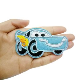 Wholesale Embroidered Car Badges - 10Pcs DiY Blue Car Patches Iron On Sewing Embroidered Applique For Jacket Clothes Stickers Badges Cute Patch Fabric DIY Apparel