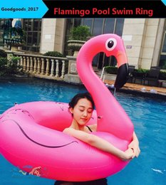 Wholesale Giants Rings - 120CM 60 Inch Giant Inflatable Flamingo Pool Toy Float Inflatable Rose Pink Cute Ride-On Pool Swim Ring for Water Holiday Fun Party M749