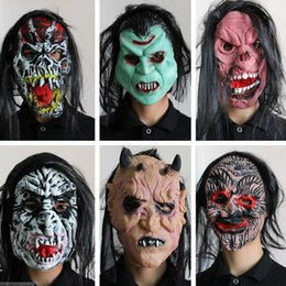 Wholesale Scary Devil Mask - Halloween mask scary head cover Super horror devil latex mask with hair KTV bar decoration props halloween decoration