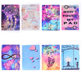 Wholesale Sleeping Tablets - Leather Tablet Case For iPad Air iPad Air 2 Cover Filp Stand Painting Wind chime Tower Love balloon Dormancy Sleep Wake Function Desgin
