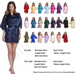 Wholesale Kimono Robe Satin Wholesale - 20 colors bridesmaid robes Satin Night Robe Immitation Silk Women Sleepwear Kimono pajamas for women Short Women Solid Royan Silk Robe D829